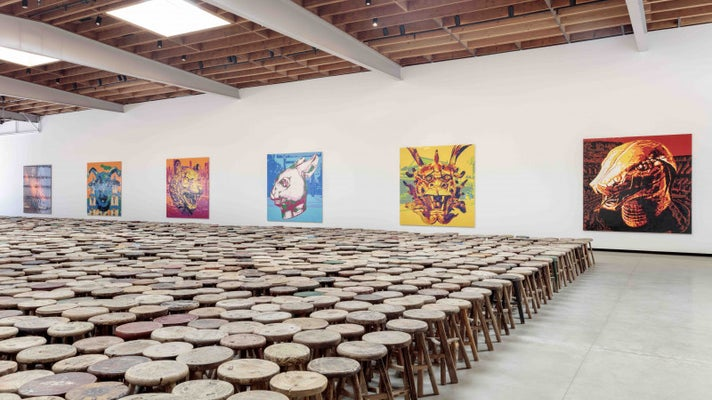 """Stools"" and ""Zodiac"" by Ai Weiwei at Jeffrey Deitch Los Angeles"