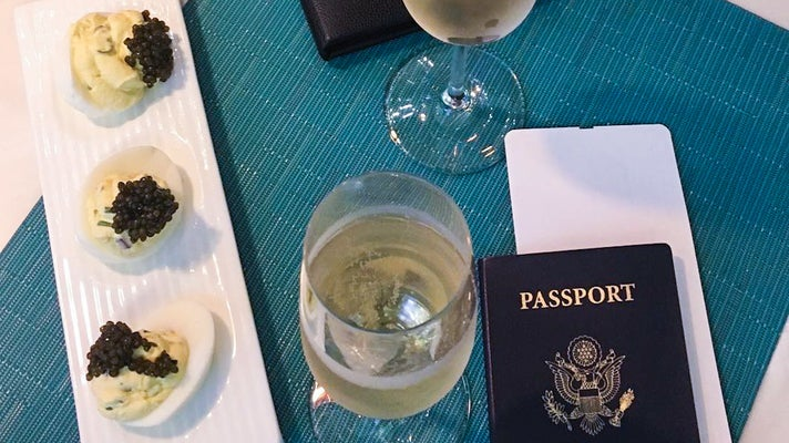 Caviar deviled eggs and bubbly at Petrossian LAX Tom Bradley International Terminal