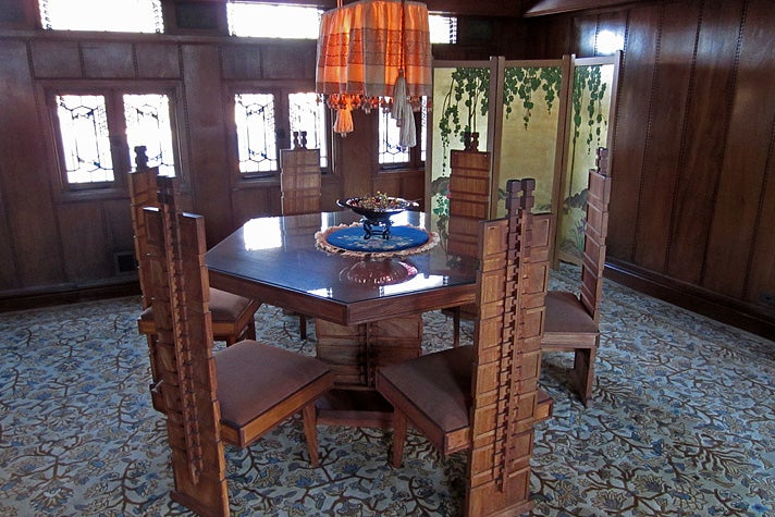 Dining room at Hollyhock House