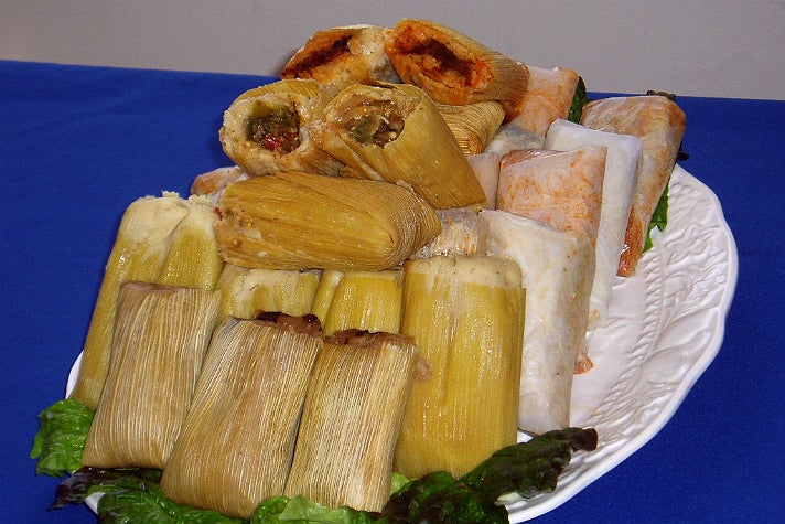 Tamale platter at La Indiana Tamales