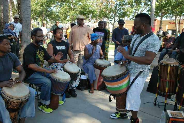 The famous drum circle at Leimert Park Art Walk