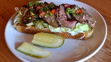 Tri-tip sandwich at Barrel & Ashes