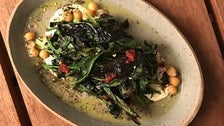 Bloomsdale spinach with smoked chickpeas and tahini at The Hearth & Hound