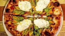 Squash Blossoms, Tomato & Burrata Pizza at Pizzeria Mozza