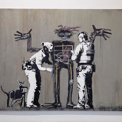 """Boy and Dog in a Stop and Search,"" a new painting by Banksy for Beyond the Streets"