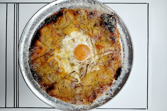 Breakfast pizza at Jon and Vinny's
