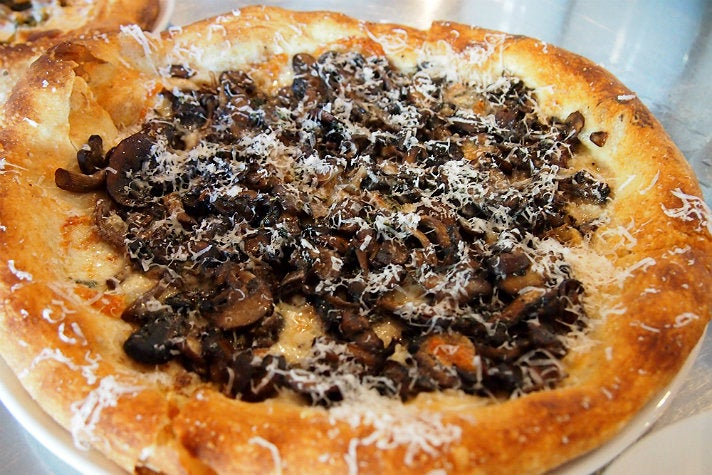 Mushroom pizza at Milo and Olive