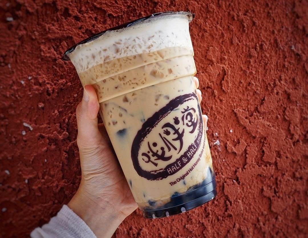 Oolong milk tea with grass jelly and honey boba at Half & Half Tea House in San Gabriel